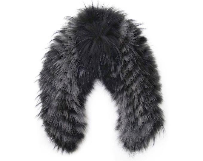 Real large fox fur collar, Leather jacket collar F545