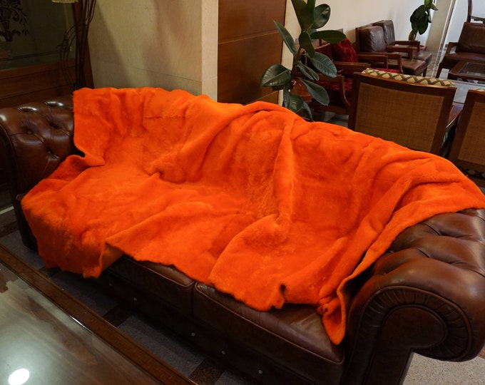 Orange Mouton Fur Blanket, Fur Throws F1007
