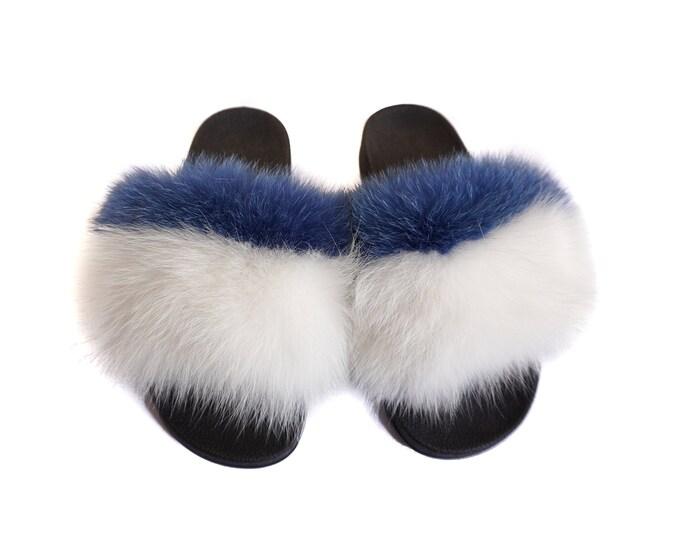 Fashion Fox Fur Slides, Fur Slides F925