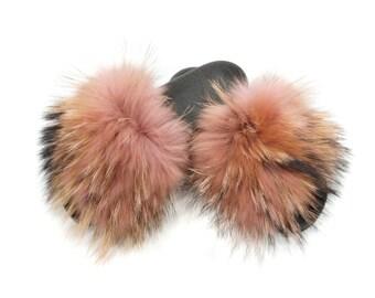 Silver Fox Fur Slides, Fur Slippers F871