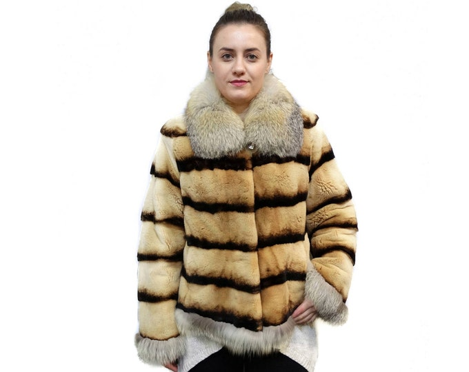 Real Mink Fur Sheared with Fox Collar F135