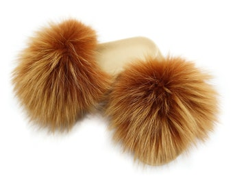 Fashion Fox Fur Slides, Fur Slides F886