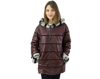 Double faced burgundy leather jacket