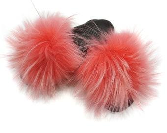 Fashion Fox Fur Slides, Fur Slides F875