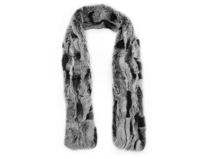 """Trendi"" Real Fur Scarf Rex Rabbit F742"