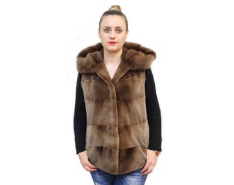 Brown Mink Vest,Hooded Vest,Sheared vest F563
