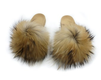 Fashion Fox Fur Slides, Fur Slides F933