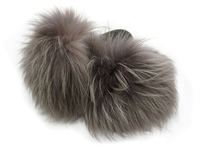 Fashion Fox Fur Slides, Fur Slides F894