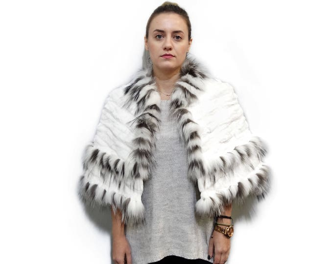 Real Sheared Rex Pieces & Fox Fur Stole F733