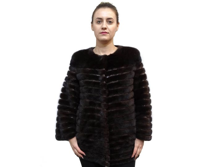Fur Coat with Leather Stripes,Chanel Mink Fur Coat F369