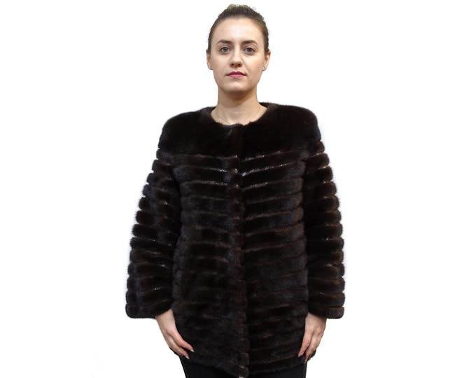 Fur Coat with Leather Stripes,Chanel Mink Fur Coat F369
