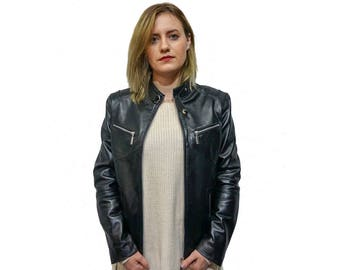 Black Leather Moto Jacket F846