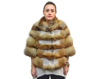 Fox coat,Real Fox jacket,Golden fox F738