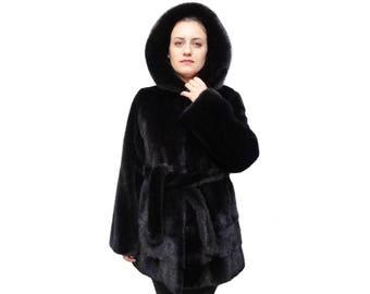 Black Hooded Fur Coat F796
