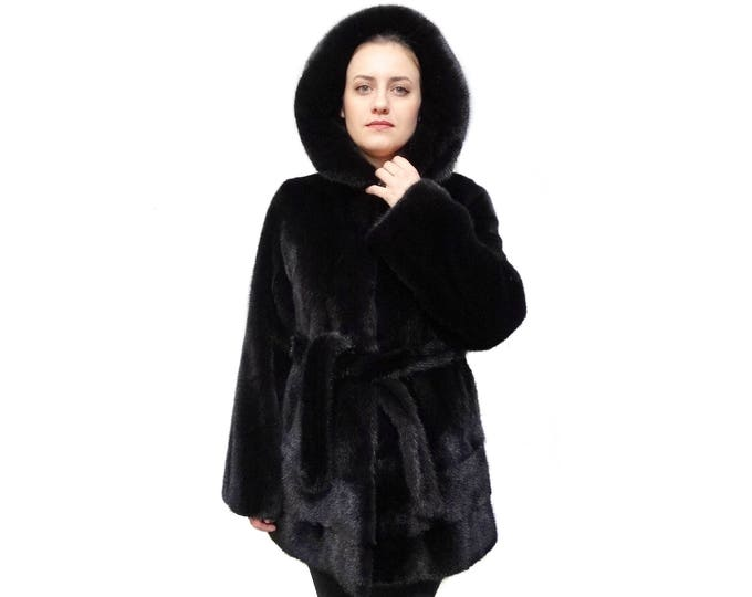 Black Hooded Fur Coat F796