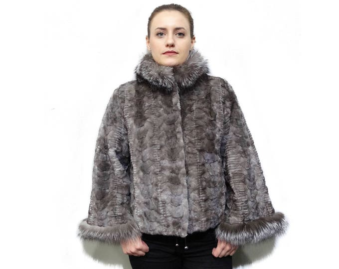 Blue Iris Fur Coat with Fox Collar  F808