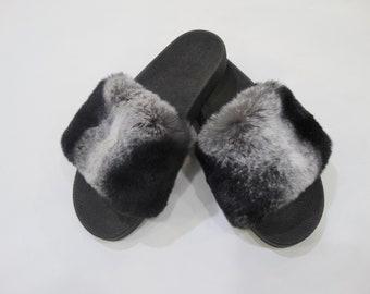 Rex Fur Slides, Fur Slippers F847
