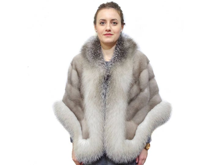 Fashion gray fur stole wrap F832
