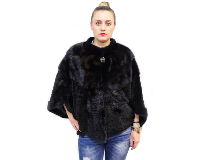 Real fur mink cape Poncho jacket
