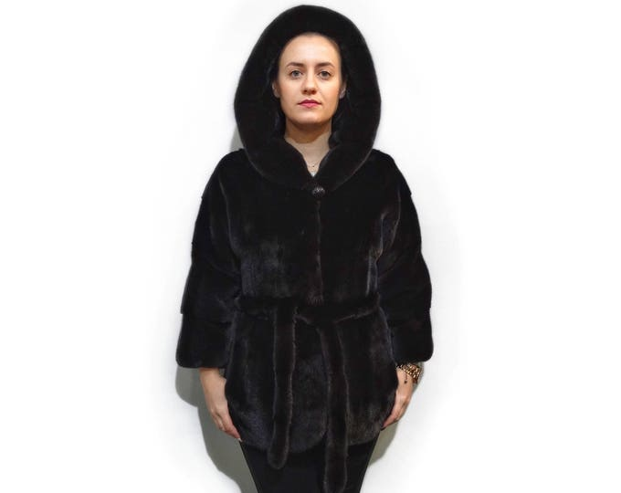 Modern Beautiful Fur Coat,Real Mink Fur Quality BlackNafa Coat F282