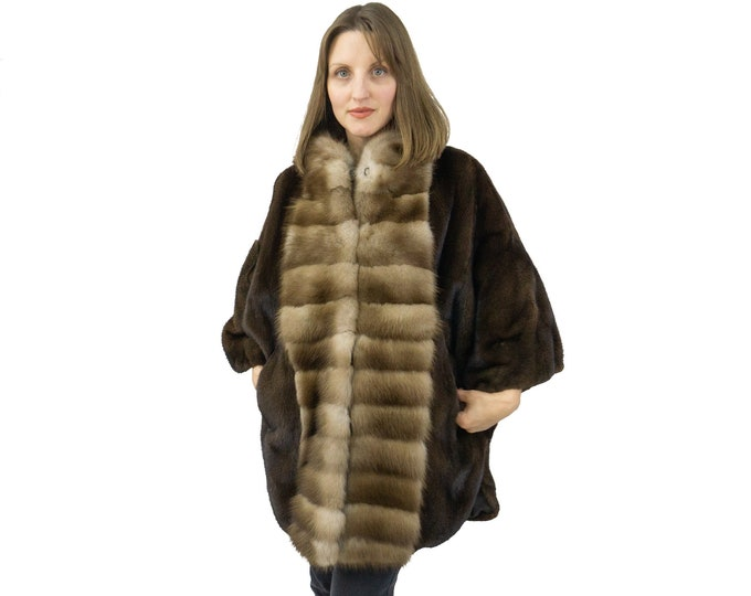 Brown mink and Marten jacket in a sleek and unique model