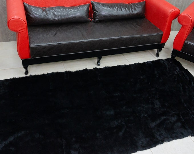 Black Rabbit Fur Carpet-Rug
