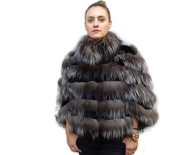 Real Fox Fur Poncho, Silver Fox Fur Poncho F404