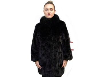 Black Mink Fur Coat F713