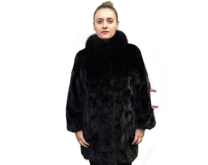 Black Mink Fur Coat F713