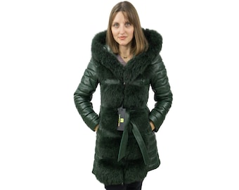 Green leather jacket with fur fox