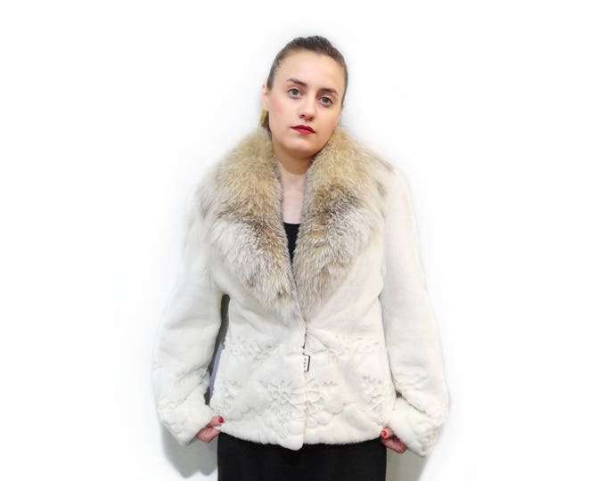 Real Fur Jacket,Sheared Mink Jacket,Big Fox Collar F259