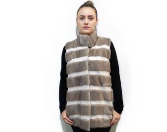Woman Mink Fur Vest F712