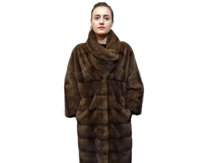 Big Collar Long Mink Fur Coat