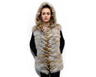 Fox Vest,Real Fur Fox Vest,Hooded vest,Sleeveless Jacket,Fur Vest,Woman Fur Vest,Fashion Teenager Vest,Real fox fur vest F703