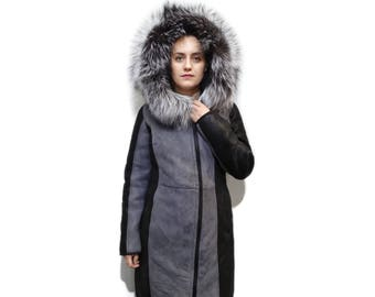 Sheepskin Mouton Gray Coat F736
