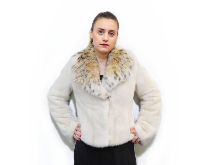 Fur Jacket with Fox Collar,Wedding Fur Coat,Prom Coat F254