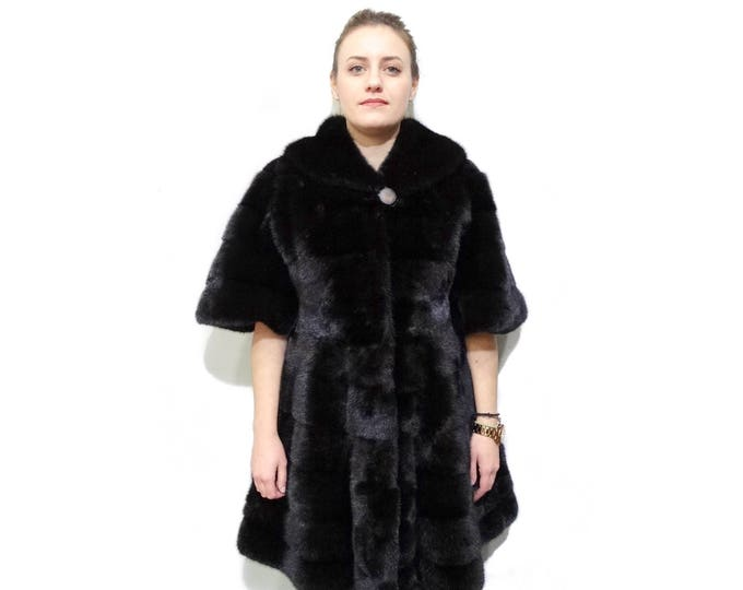 Modern Fur Coat, Black Fur Coat F795