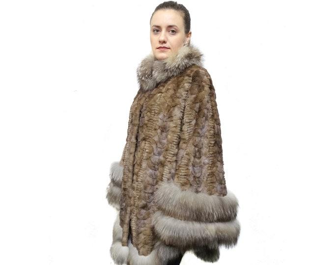 Mink Sheared Pieces Coat, Plus Size Fur Coat F850