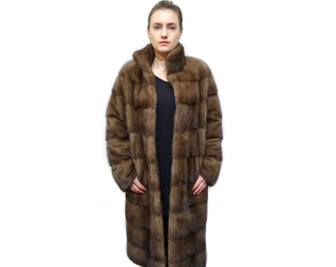 Brown Long Fur Coat, Real Mink Fur Coat