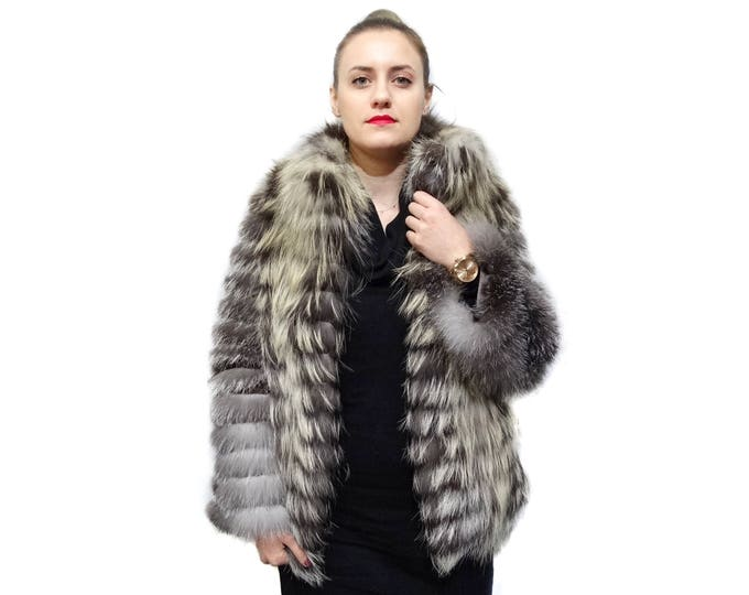 Silver Gold Fox Fur Coat with Leather Stripes F798