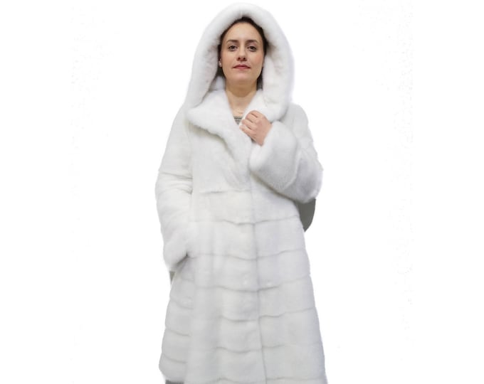 White Mink Fur Swing Coat F831