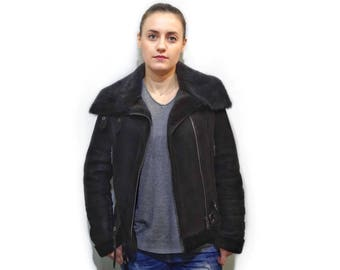 Black Sheepskin Jacket F728
