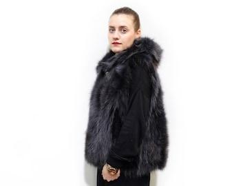 Plus size fox hooded fur vest,Black fur with gray shadows vest