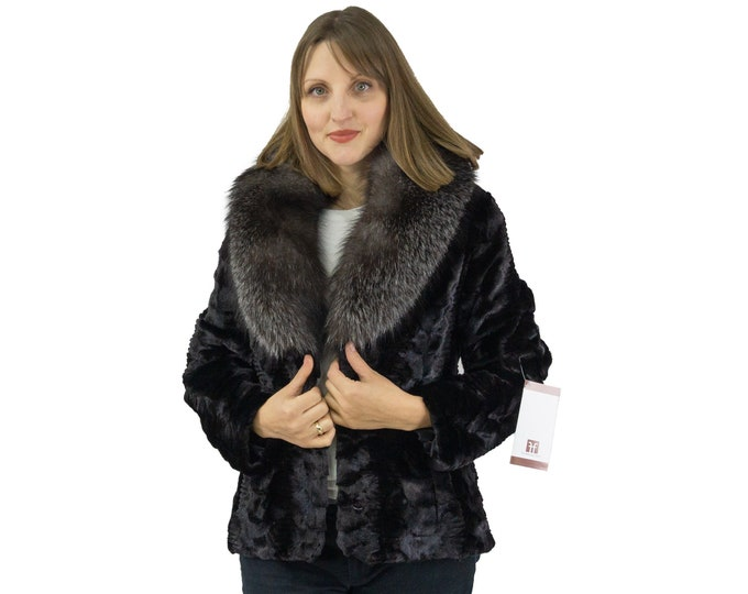 Fur mink jacket sheathed with big fox collar F1125