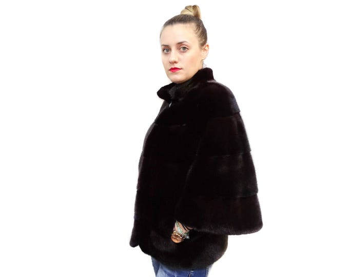Black Fur Coat,Classy Style Mink Fur Coat F564