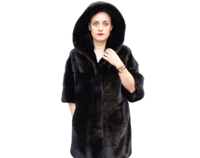 Fur coat,Hooded Fur jacket,Black mink fur,Fashion coat F562