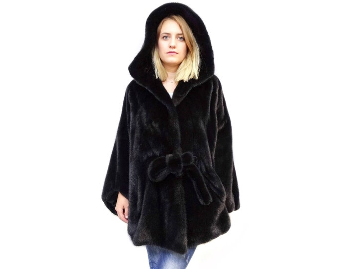 Mink Cape,Hooded coat with belt