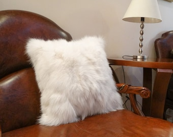 Fur pillows with fluffy fox fur, ideal for your home decor or housewarming gift