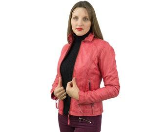 Pink Leather Jacket Biker Style