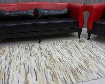 Black & White Mink Fur Carpet